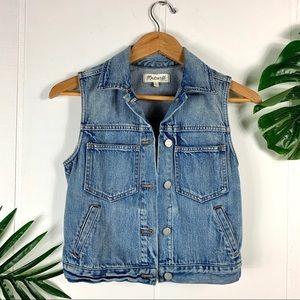 MADEWELL Light Wash Denim Vest Size X Small